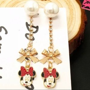 Cute Crystal Betsey Johnson Minnie Mouse Earrings